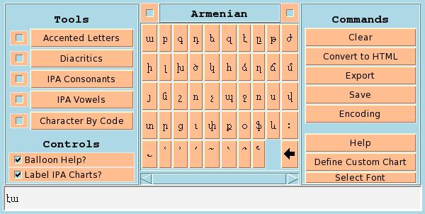 Armenian alphabet chart