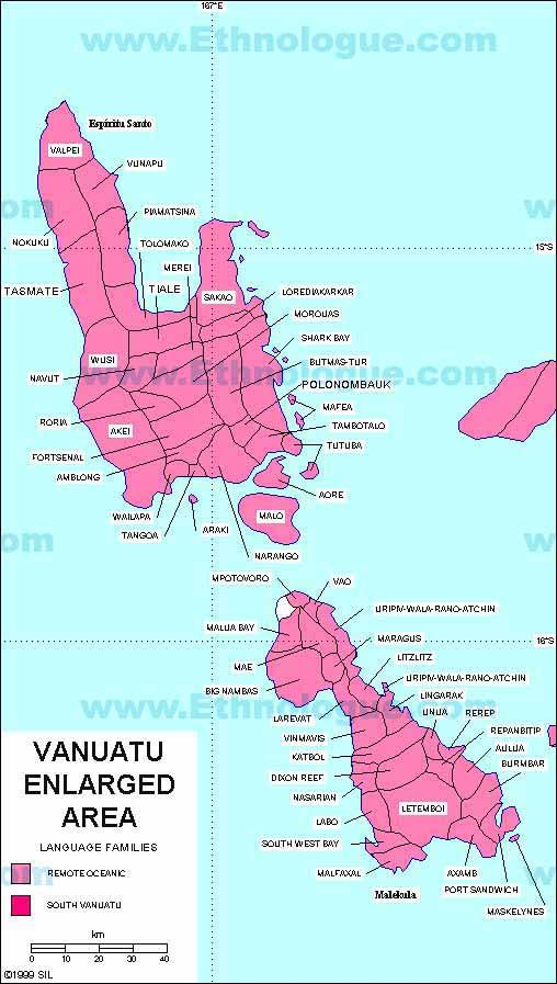 Enlarged Map of the Languages of the Main Lsalnds of Vanuatu